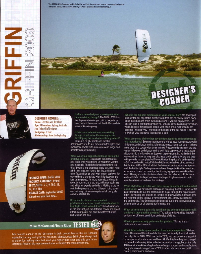 Kiteworld Magazine Review of Griffin Kites