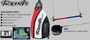 Beginner kitesurfing package of HQ Rush trainer kite